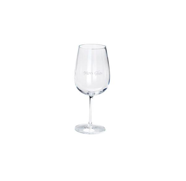 Rødvinsglas med gravering